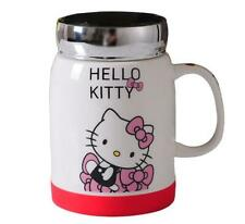 New Cute Hello Kitty Home Ceramic Cup Tea Milk Coffee Mug c/w Spoon & lid 450ML
