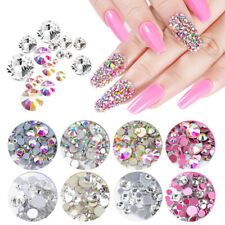 Mixed Size Ab Crystal Nail Art Rhinestones Non Hotfix Flatback Glass Decorations