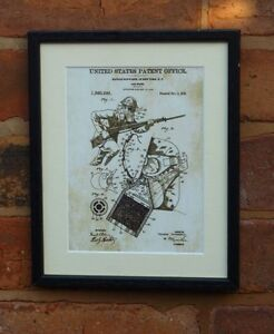 """USA Patent vintage GAS MASK army soldier Mounted Matted PRINT 10"""" x 8"""" 1919  WWI"""