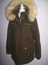 ZARA brun kaki manteau parka avec doublure en fourrure et fourrure capuche ref 5070/251