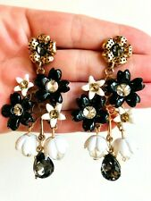 Flowers Sparkling Clear Stones Earrings Zara Beautiful Black And White