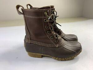 LL Bean Boots 6 Inch Duck Dark Brown Tan Original Waterproof Womens Girls