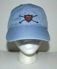 Vintage Polo Ralph Lauren Golf Crest Shield Strapback Cap Hat (Rare Blue Color)