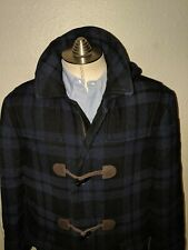 42L Ralph Lauren Tartan Toggle Duffle Plaid Wool Hooded Coat Jacket Peacoat Men