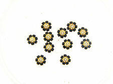 Vintage Brass Swar Black Crystal Prong Set Domed Umbrella Bead Cap Findings Lot