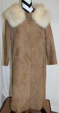 Vintage BEGEDOR Denise Leather & Fur Trench Coat 3/4 Sleeve Sz S/M  L#920a