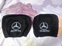 2 BLACK Headrest Covers for Mercedes BENZ Head Rest cover