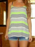 J. Crew tank top blouse size 8 striped neon green white black cool