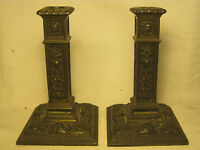 Antique candle holders 1909 ornate metal columnar candlesticks *1 damaged