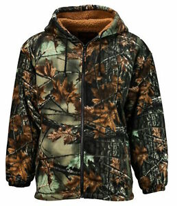 TrailCrest Sherpa Lined Green Camo Fleece Camouflage Men's Hunting Jacket 2X-3X