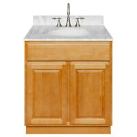 "30"" Vanity Cabinet Richmond with Granite Top Cara White and Faucet LB7B"