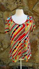 LuLaRoe Multi Colored Geometric Pattern Short Sleeve Tunic Size M