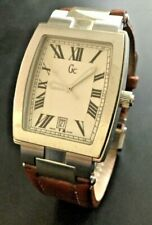 Guess Collection Men's Watch Silver Stainless Steal Case Brown Leather Band New