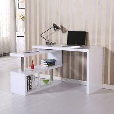 White High Gloss Desk L Shaped Computer Workstation Large Corner Office Modern
