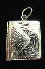 Solid Silver engraved envelope stamp case photo holder Prayer Locket Chatelaine