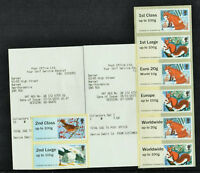 ERRORS -  FUR + FEATHERS 9/10 DAYS EARLY SET of  2 COLLECTOR STRIPS Post & Go
