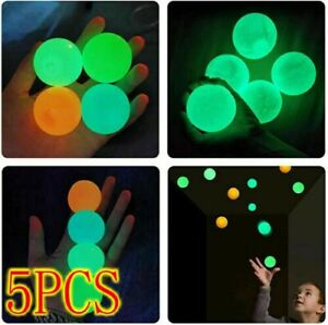 Fluorescent 5 Pcs Sticky Balls Glow in the Dark Ceiling Stress Relief Kids Toy