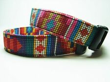 Charming Southwest Tucson Pink or Purple Fabric Beaded Stripe Dog Collar