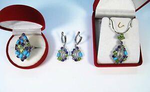 TURQUOISE, PERIDOT, AMETHYST RING, EARRINGS/NECKLACE 21.09 CTW - GOLD/925 SILVER