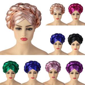 Aso Oke Auto Gele Headtie Women African Turban Hat Mulsim Hijab Head Wrap Cap