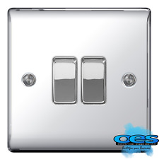 BG Electrical NPC42 Nexus Metal Polished Chrome 2 Gang Way 10ax Plateswitch