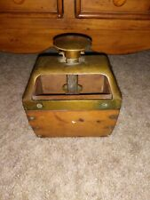 VINTAGE FARMHOUSE WOODEN/BRASS BUTTER MOLD PRESS BOX w/ CARVED LEAF