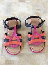 Wonderkids Girls Size 11 Brown/Pink/Orange Sandals - Euc