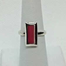 A244 SS Ring w/red enlay. Ring size 7.0