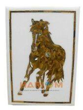 """18""""x24"""" White Marble Coffee Table Top Tiger Eye Inlay Stone With Horse Arts W262"""