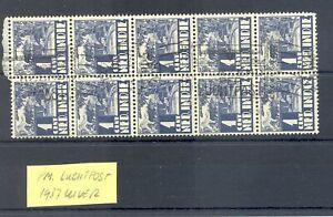 DUTCH INDIES-INDONESIA 1937 AVIATION 1 Ct. BLOCK OF 10 -PM -SLOGAN UIVER PLANE -