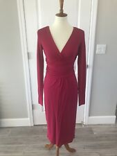 NWT Rena Lange Fuschia Pink V-Neck Dress w/ Slip Size 6 Viscose Blend $1,995