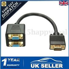 Monitor VGA SVGA LCD Y Dual Splitter Cable Lead Adapter 1 PC to 2 Screens 15 Pin