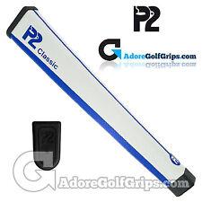 P2 Classic Jumbo Putter Grip - White / Blue + Free Tape