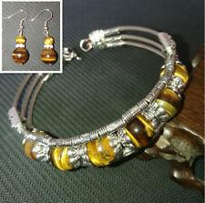 Ladies Bangle Tibetan Silver Bangle Tiger Eye Bead Woman Bracelet Earrings Set