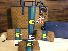 COACH PAC-MAN TOTE SET+WALLET+WRISTLET+Cosmetic CASE+KEYFOB+57277/ 56718 NWT