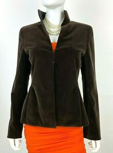 Akris New 8 US 44 IT 38 D M Brown Cotton Velvet Blazer Jacket Coat Runway Auth