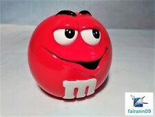 M&M's PLAIN RED Cookie Candy Jar with Lid Original Label 2001