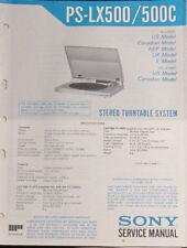 Sony PS-LX500 turntable service repair workshop manual (original copy)