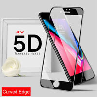 5D Curved Full Cover Tempered Glass Screen Protector For iPhone 7 7S Black