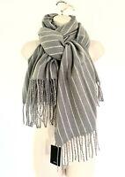 NWT Mango MNG Women's Fringe Grey White Striped Blanket Oversized Scarf