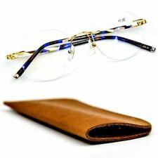 Pure Titanium Rimless Oval Reading Glasses Premium Lenses & Leather Pouch ST9190
