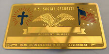 Christian Cross Eagle US Social Security Metal Card Tag NOS VTG Perma Products