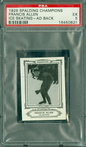 1926 SPALDING OLYMPICS FRANCIS ALLEN ICE SKATING AD BACK BGS 5  100 MINTED *