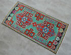 """Vintage Distressed Small Area Rug Hand Knotted Oushak Rugs Yastik -1'10""""x3'10"""""""