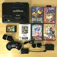 Sega Genesis Model 1601 16 Bit Console Bundle Lot 6 Games Controller Tested