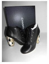 CHANEL Black Leather Lace Up Mixed Color-Block Heel Fashion Ankle Boots 38.5