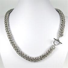 Breite filligrane Edelstahl Halskette Collier poliert mit Stegösenverschluß