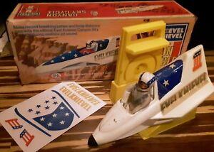Vintage 1974 EVEL KNIEVEL Canyon Stunt Sky Cycle Figure Energizer Box Ideal Toys