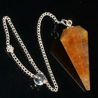 35-45 MM Long Natural Citrine Quartz Crystal Dowsing Pendulum Healing Chakra