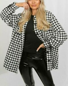 Women's Tweed Dogtooth Button Up Shacket Ladies Collared Oversized Shirt Jacket